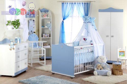 Śliczny zestaw mebli dziecięcych dla małego księcia Klupś - łóżeczko 140x70 szafa i komoda