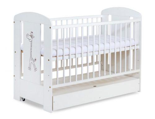 Łóżeczko dziecięce z szufladą Safari Żyrafka 120x60 firmy Klupś w kolorze białym