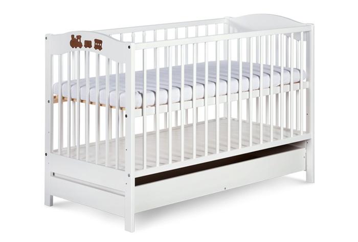 Dziecięce łóżeczko drewniane z szufladą Radek V firmy Klupś Biały