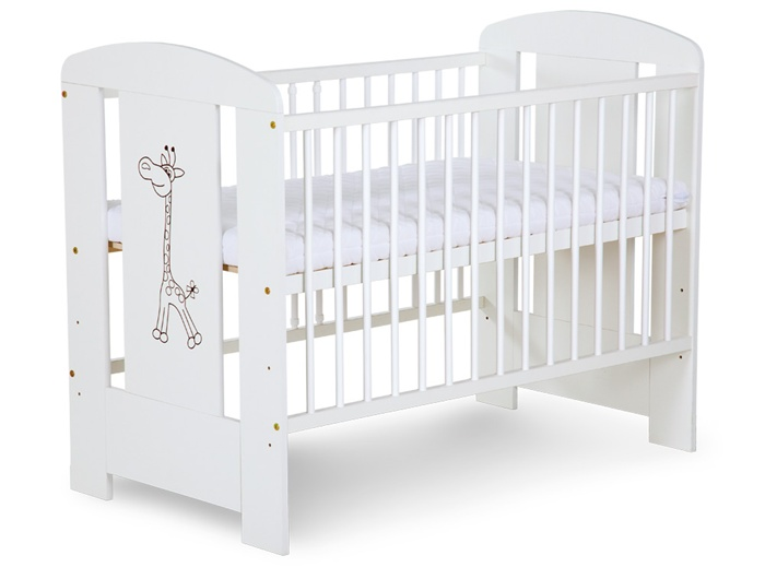 Łóżeczko dziecięce Safari Żyrafka 120x60 firmy Klupś w kolorze białym