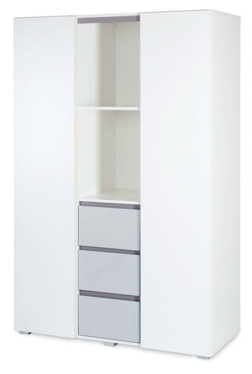 Duża 3-drzwiowa szafa do pokoju dziecięcego Klupś kolekcja Dalia - 183x120x52 cm Grey