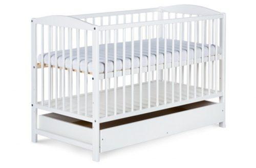 Łóżeczko drewniane dla dzieci 120x60 Radek II Klupś z szufladą Biały