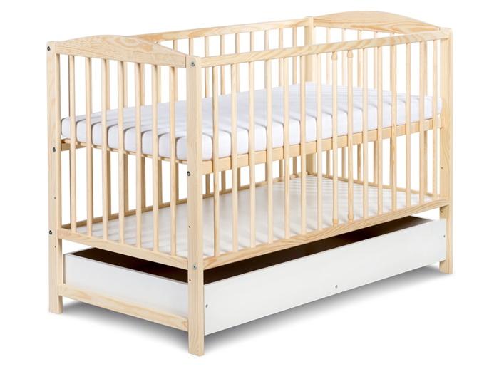 Łóżeczko drewniane dla dzieci 120x60 Radek II Klupś z szufladą Sosna