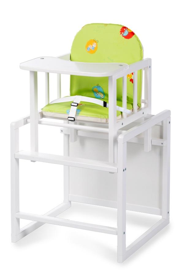 Drewniane krzesełko do karmienia Aga Klupś Biały różowy