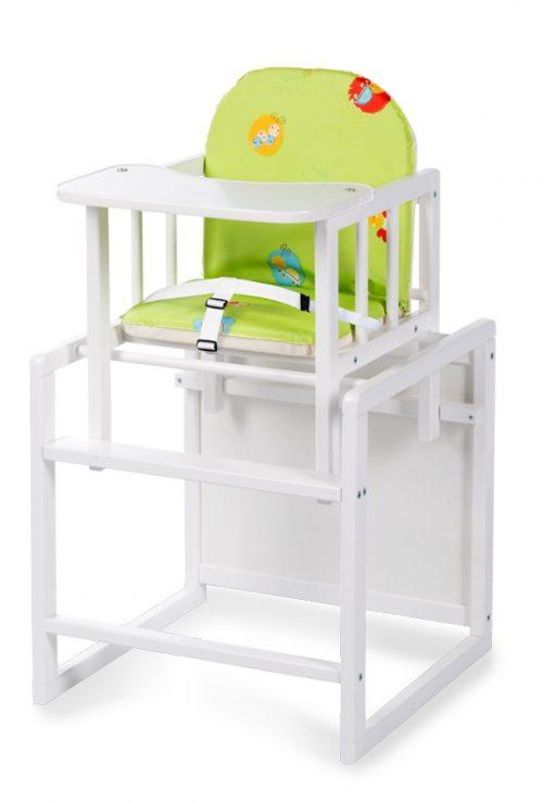 Drewniane krzesełko do karmienia Aga Klupś Biały zielony