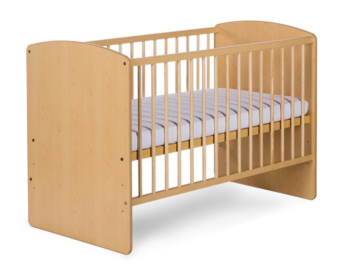 Łóżeczko z drewna i płyty meblowej Klupś Karolina II bez szuflady 120x60_Sosna