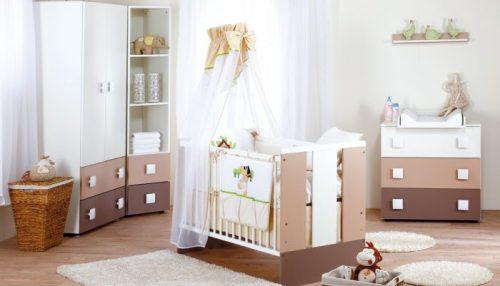 Meble dziecięce Klupś - zestaw mebli Paula Latte - łóżeczko z szufladą 120x60 + szafa + komoda