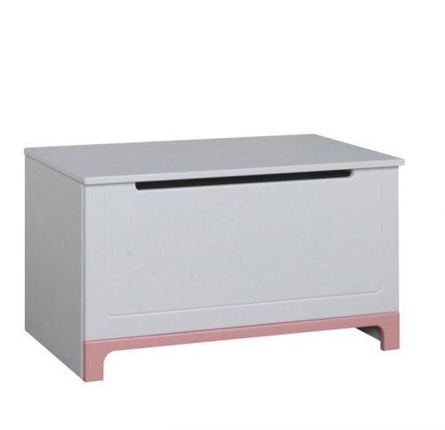 Kolekcja mebli Mini Pinio skrzynia na zabawki – kuferek Biały różowy