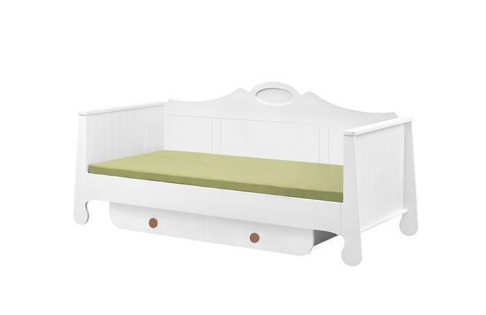 Duże łóżko młodzieżowe 200x90 z szufladą Parole Pinio Biały brązowy