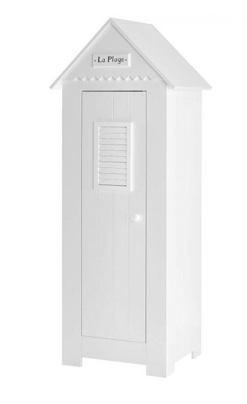 Wąska szafa dziecięca jedno drzwiowa Marsylia MDF Pinio - biała