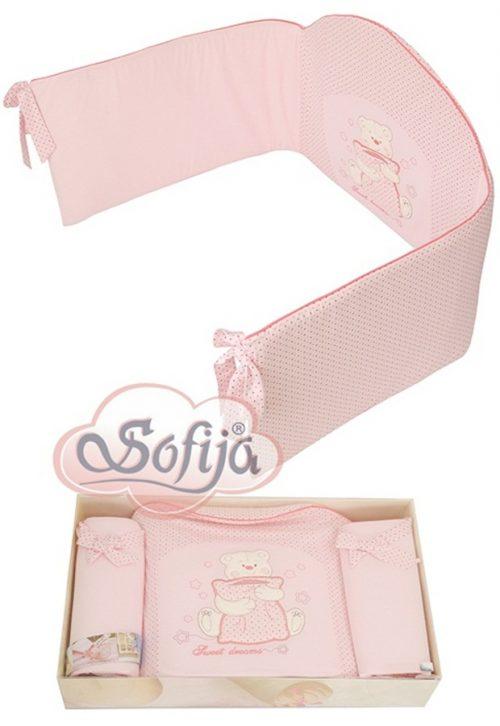 Ochraniacz do łóżeczka dziecięcego Sofija Misia Różowy