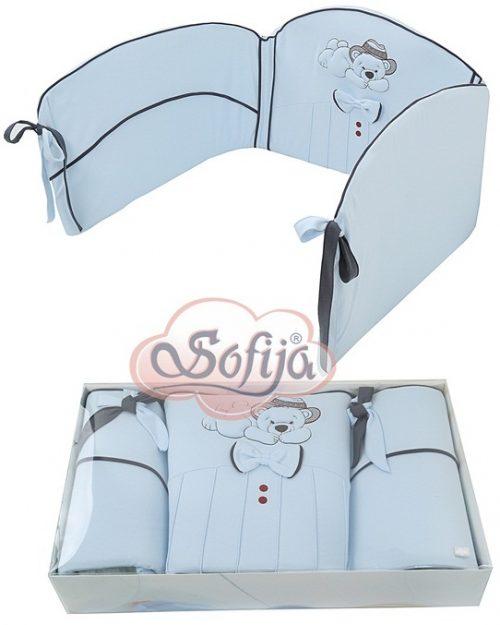 Ochraniacz do łóżeczka dziecięgo Gracjan, Sofija Niebieski