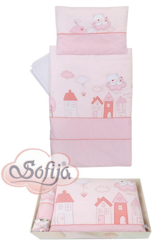 Piękny komplet pościeli Sofija Muffi 5 elementów Różowy
