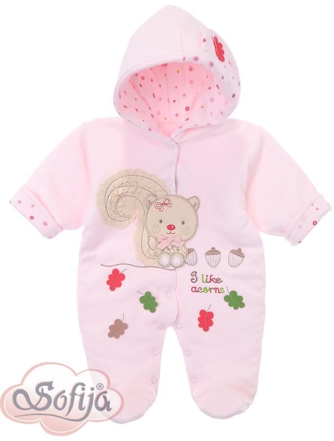 Rubinka ocieplany pajacyk dla dziewczynki śliczne hafty Sofija 68 Różowy
