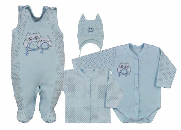 Koala Baby Wyprawka 4 częściowa kolekcja Sówka 68 Niebieski