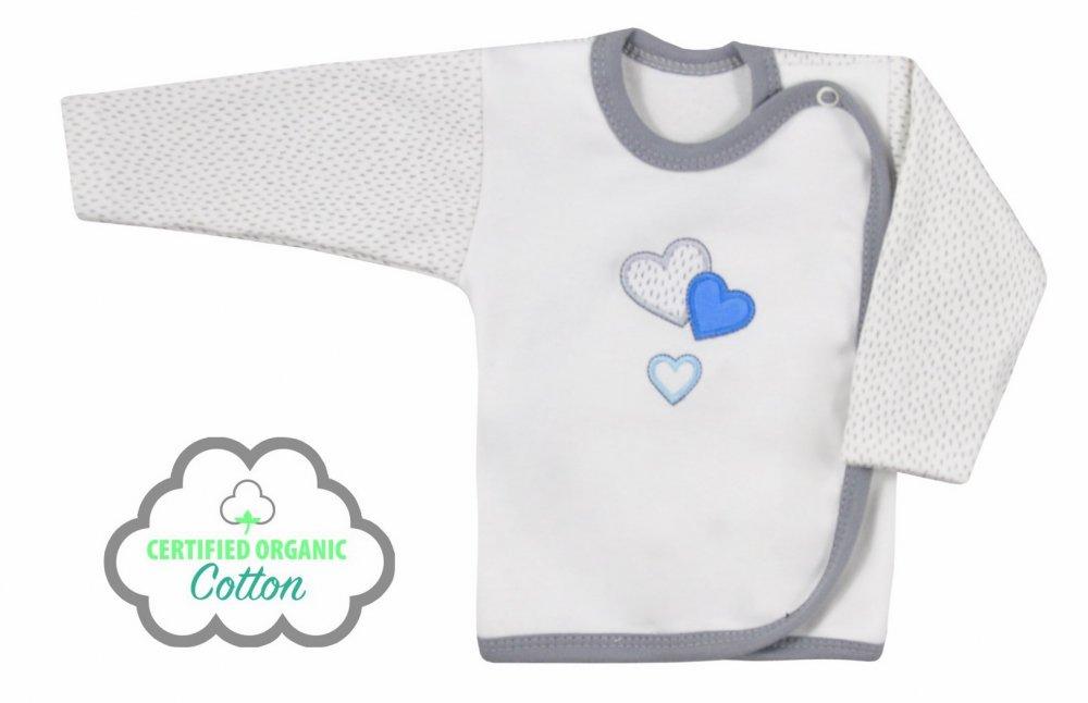 Koala Baby koszulka zakochany miś bawełna organiczna  68 Ecru niebieski