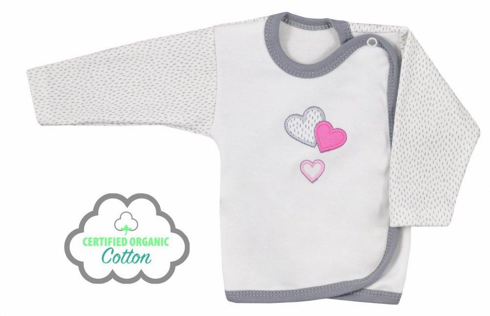 Koala Baby koszulka zakochany miś bawełna organiczna  68 Ecru Różowy