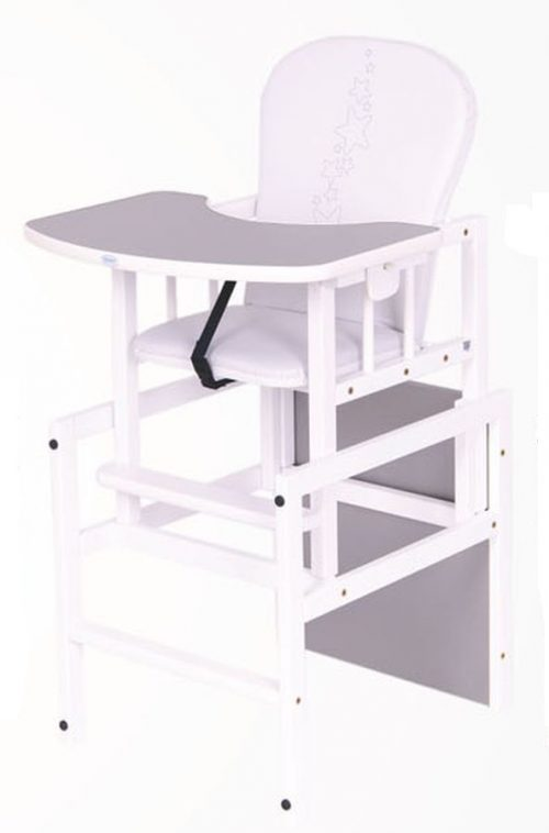 Krzesełko do karmienia drewniane Antoś Gwiazdki Srebrny – biały
