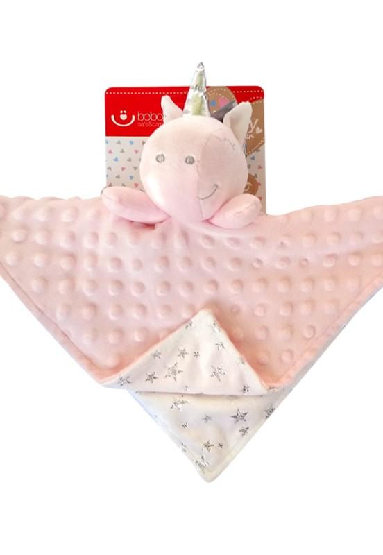 Różowa przytulanka dla niemowlaka jednorożec