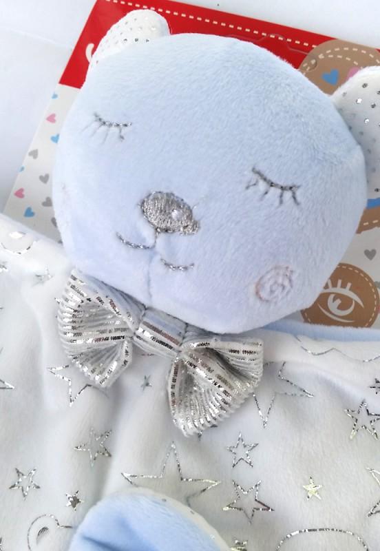 Przytulanka dla niemowląt śpiący miś niebieski