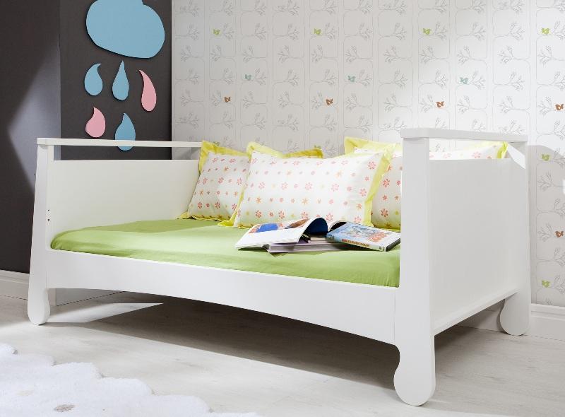 Duże łóżko młodzieżowe 200x90 z szufladą Parole Pinio Biały zielony