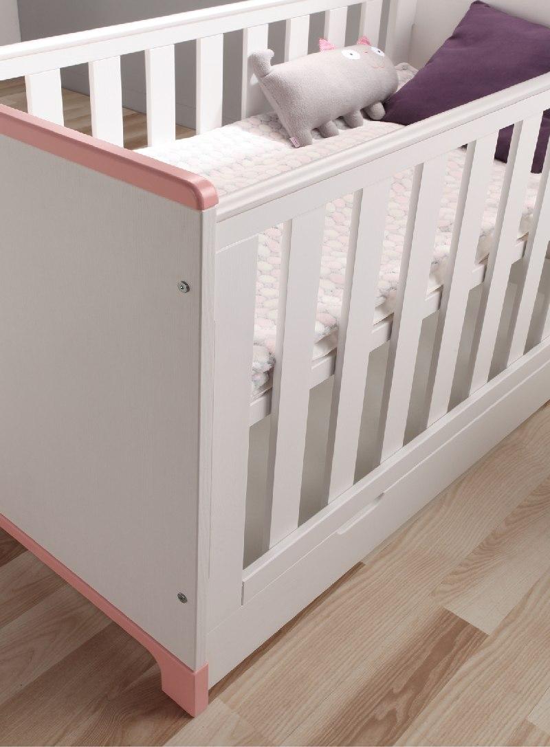 Łóżeczko dziecięce Mini Pinio 120x60 cm Biały różowy