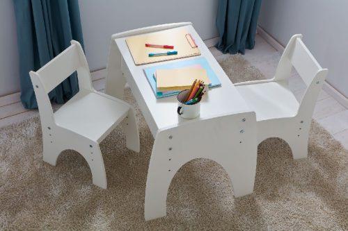 Pinio Stolik dla dzieci z regulowaną wysokością blatu do zestawu Klips biały