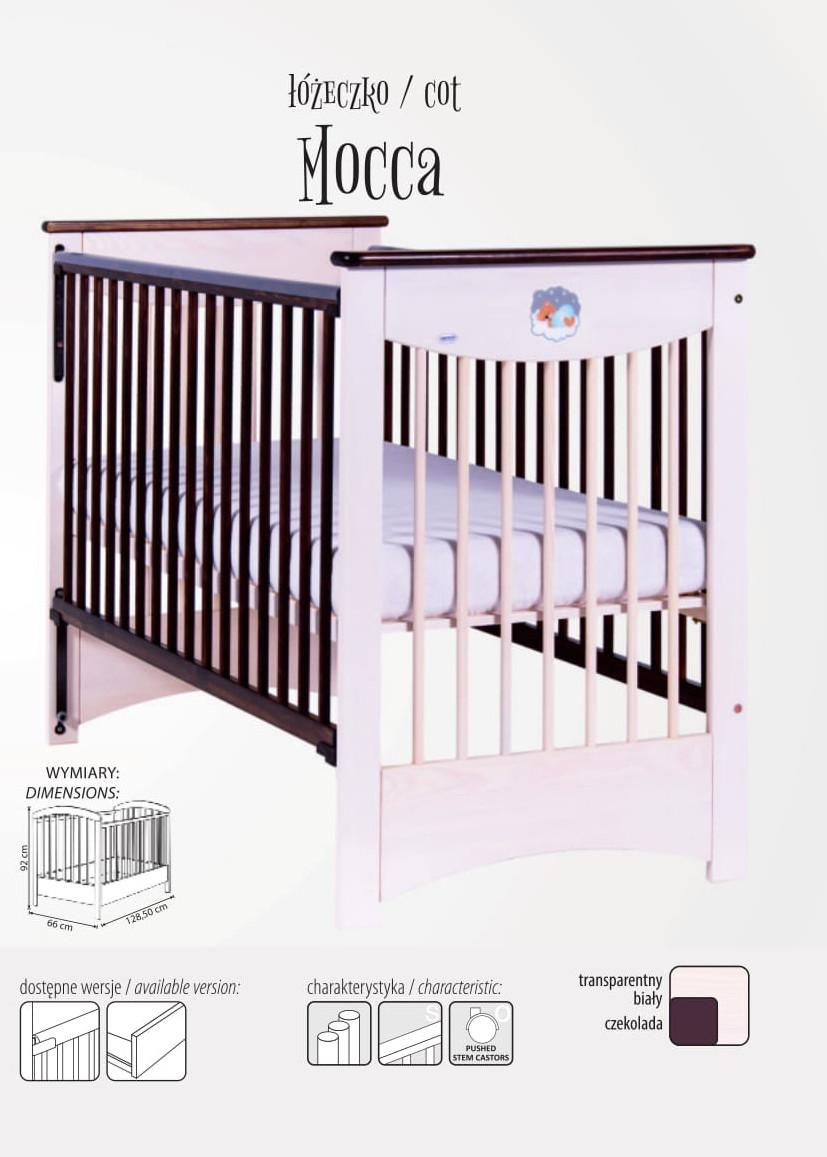 Mocca łóżeczko z opuszczanym bokiem, Drewex