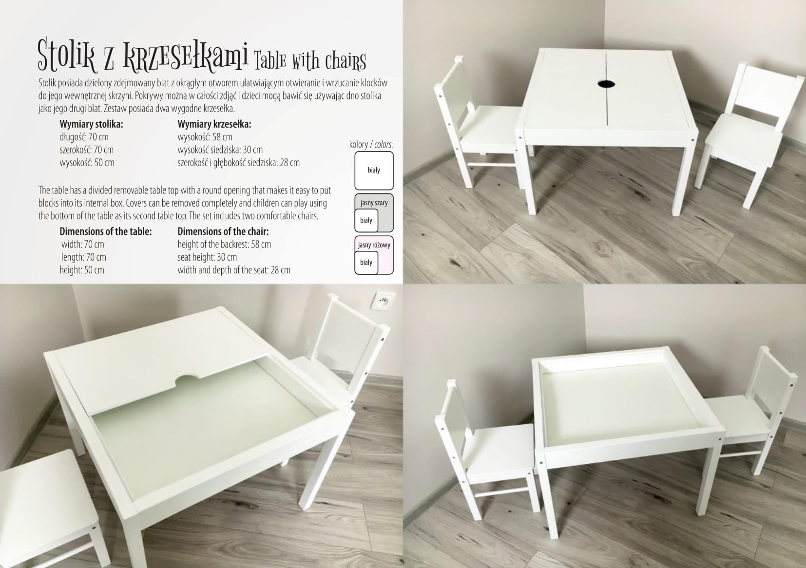 Drewex 2 krzesełka biały jasny róż