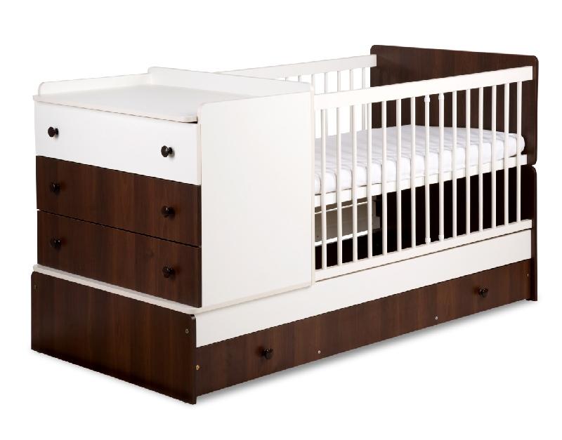 Rozkładane łóżeczko 3w1 tapczanik z komodą 172x80 Klupś Kompakt Ecru orzech