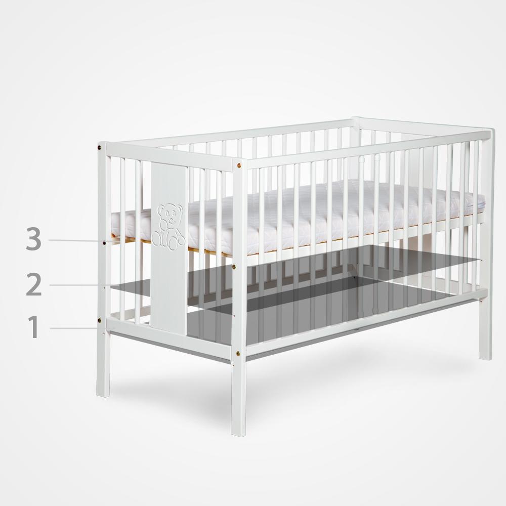 Łóżeczko dziecięce 120 x 60 z opuszczanym bokiem Ewelina I Klupś Biały