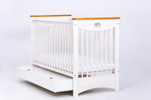 Łóżeczko 120x60 z szuflada Laura, Drewex Biały Transparentny