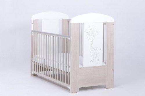 Łóżeczko dziecięce 120x60 z opuszczanym bokiem Żyrafka, Drewex dąb santana