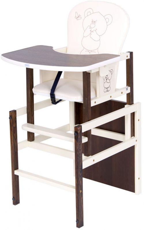Krzesełko drewniane do karmienia Antoś Miś i Motylek Drewex Orzech ecru