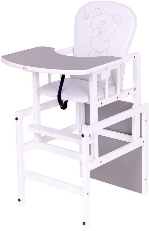 Krzesełko drewniane do karmienia Antoś Miś i Motylek Drewex Srebrny biały