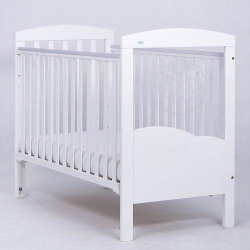 Łóżeczko 120x60 z opuszczanym bokiem Miś na chmurce Drewex biały led