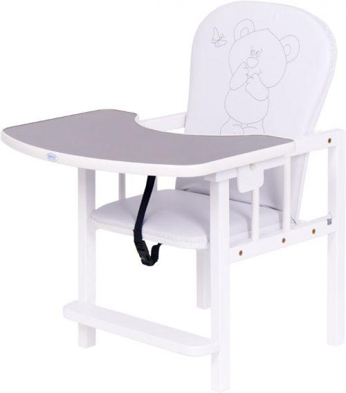 Krzesełko do karmienia drewniane Antoś Żyrafka Drewex Dąb santana – biały