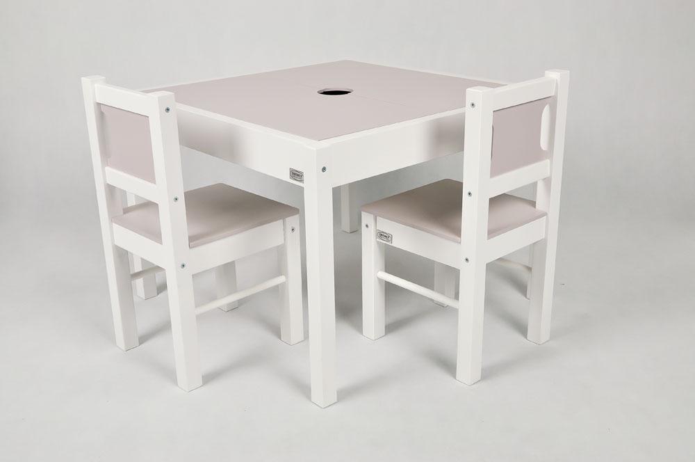 Drewex Stolik z 2 krzesełkami biały jasny róż