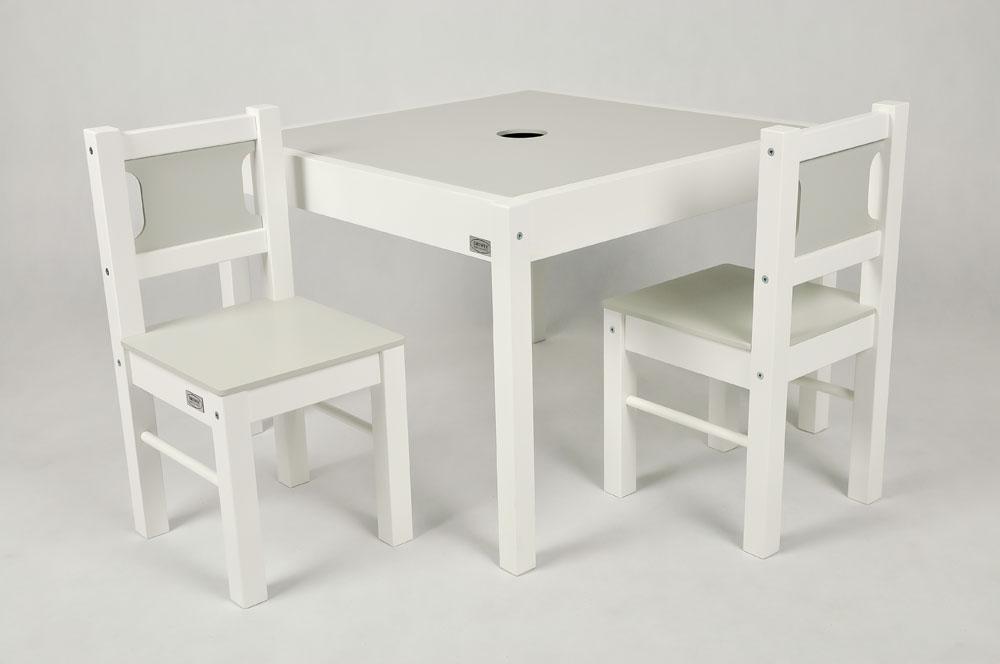 Drewex Stolik z 2 krzesełkami biały jasny szary