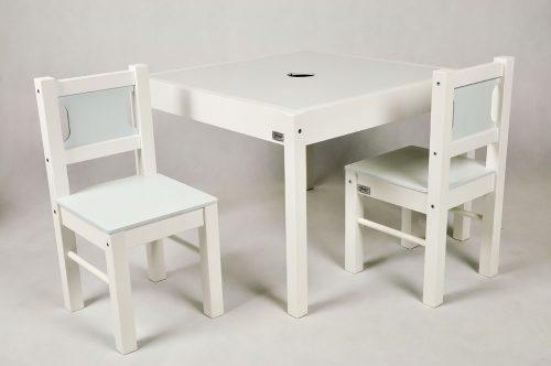 Drewex Stolik z 2 krzesełkami  biały jasny niebieski