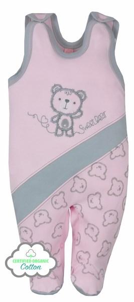 Śpioszki z bawełny organicznej kolekcja Misiaki Koala Baby 68 Różowy