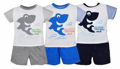 Koala Baby Letni komplet bawełniany koszulka i spodenki Shark 62 Niebieski