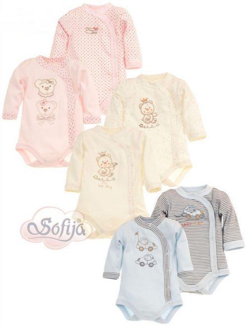 Pastelowe body z długim rękawem z haftem - body dla dzieci Chrupcio Sofija r.68 Różowy Gładki