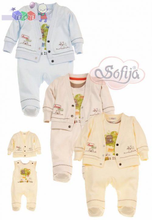 Komplet bielizny niemowlęcej dla chłopca Sofija Ariel - kaftanik ze śpioszkami r.68 Żółty