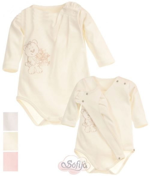 Pastelowe body niemowlęce z długim rękawem Sofija Dobrusia rozmiar 68 Biały