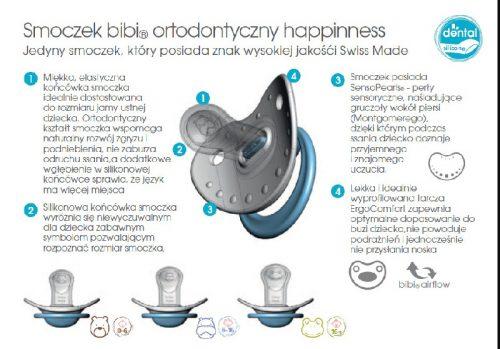 Silikonowe ortodontyczne smoczki uspokajające Bibi Mama Pastel 6-12 miesięcy