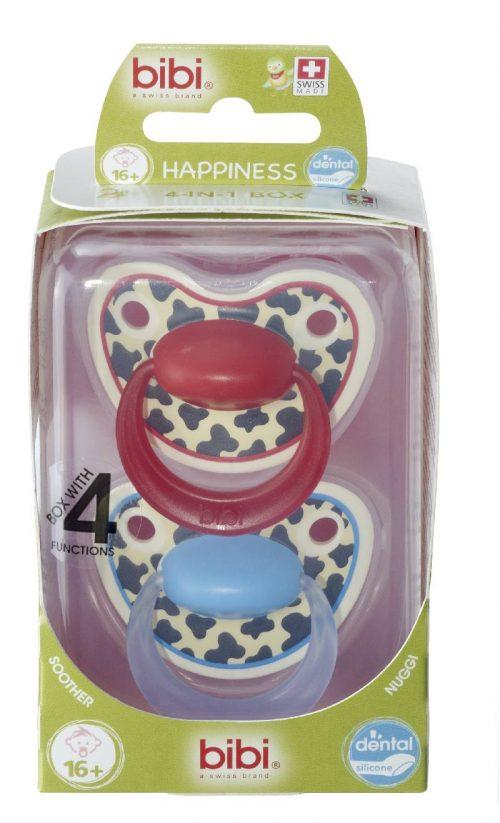 Bibi smoczek ortodontyczny + sterylizator podręczny Happy Tiger Swiss Duo 16+  Niebiesko Czerwony