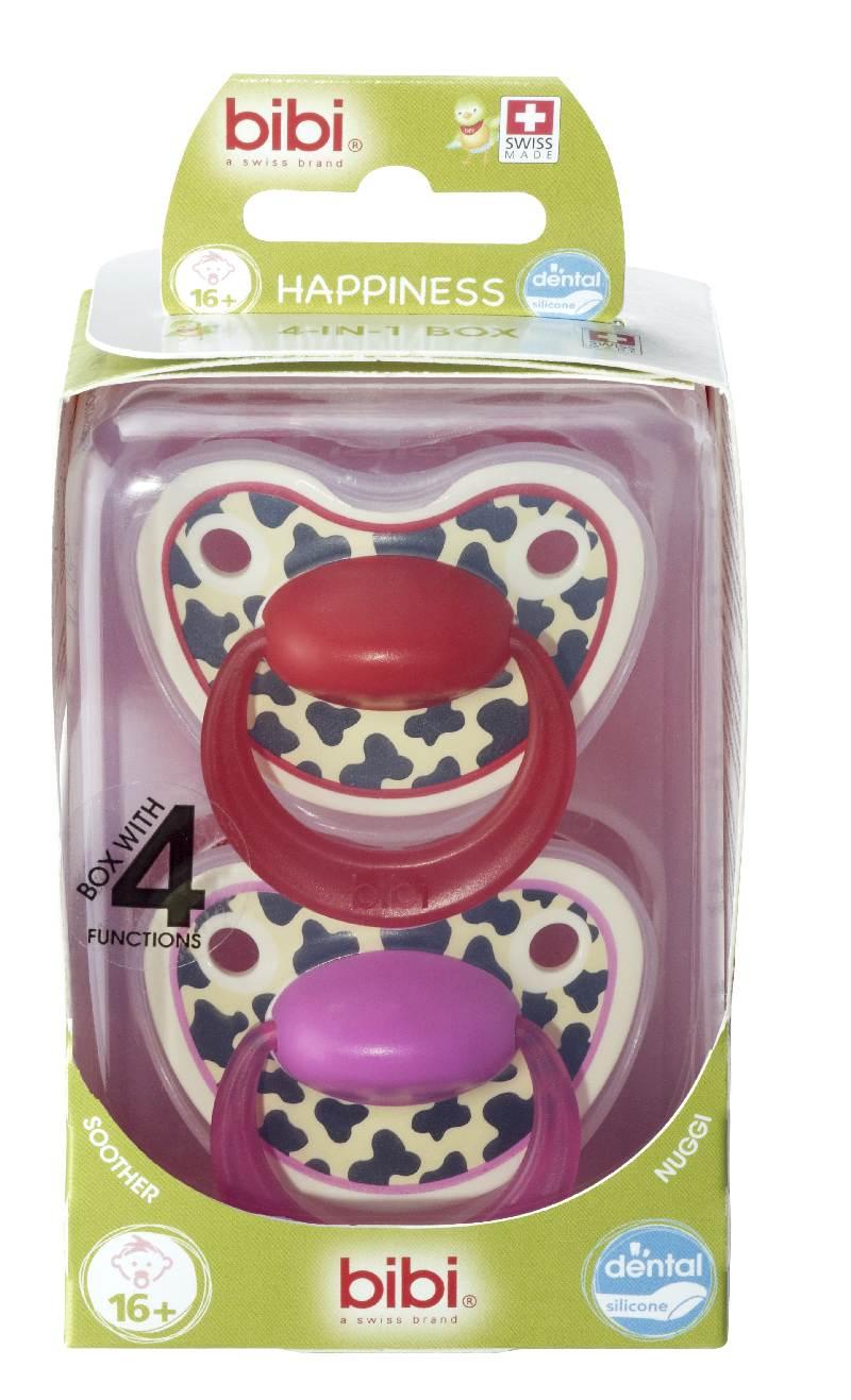 Bibi smoczek ortodontyczny + sterylizator podręczny Happy Tiger Swiss Duo 16+  Różowo Czerwony