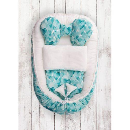 Kokon niemowlęcy serduszka niebieskie + kołderka Belisima