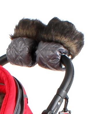 Mufki do wózków na rączkę, rękawiczki do wózka dziecięcego grafitowe